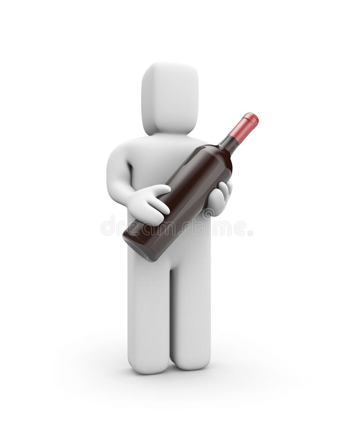 Download Person Holds A Bottle Of Wine Stock Illustration - Image: 14862370