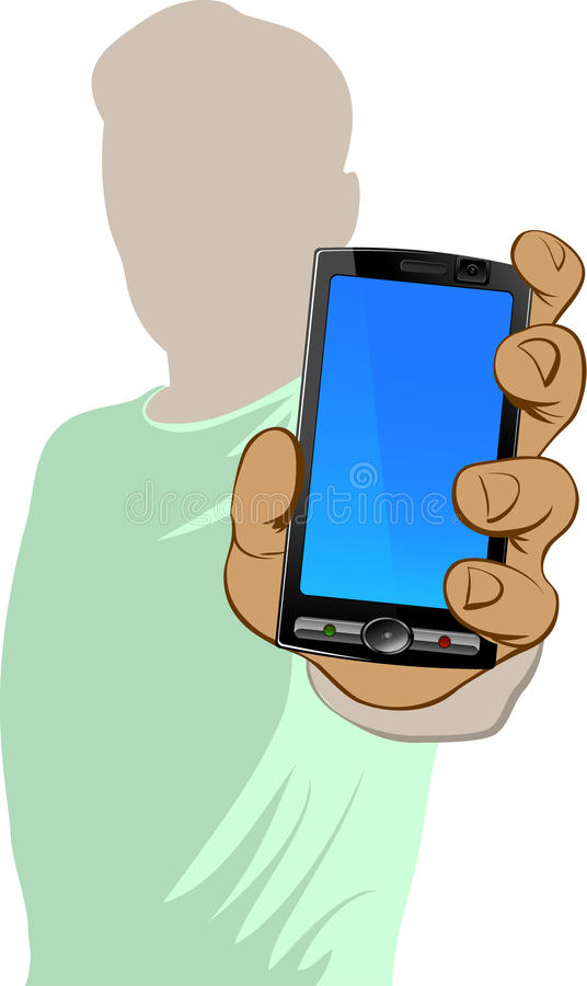 Download Person holds cell phone stock vector. Illustration of mobile - 9428463