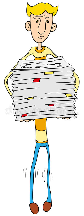 Person Holds A Lot Of Paper Stock Photography