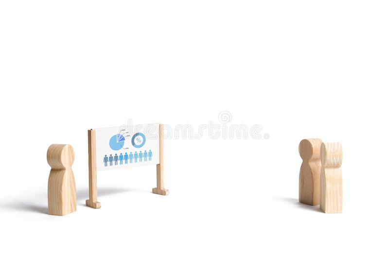 A person holds a presentation on the whiteboard on an isolated background. Business meeting, briefing. Report and strategy royalty free stock image
