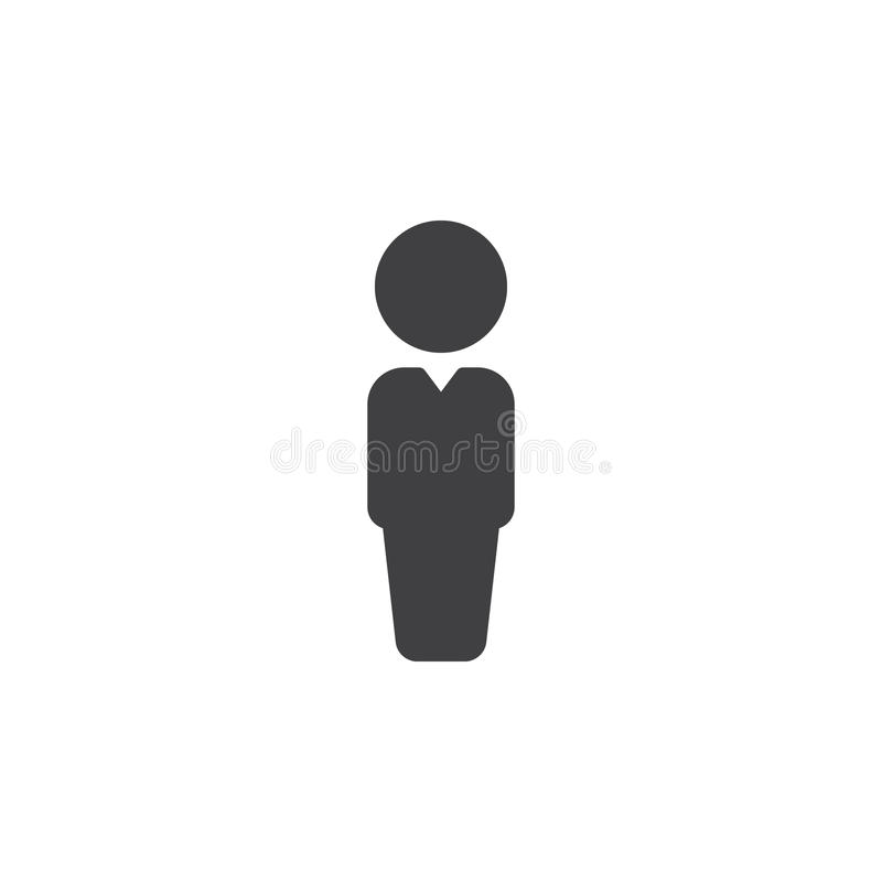 Person icon vector, filled flat sign, solid pictogram isolated on white. stock illustration