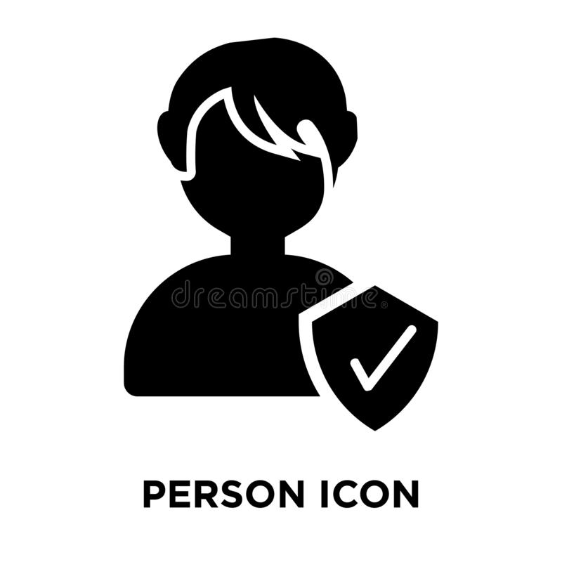 Person icon vector isolated on white background, logo concept of. Person sign on transparent background, filled black symbol stock illustration