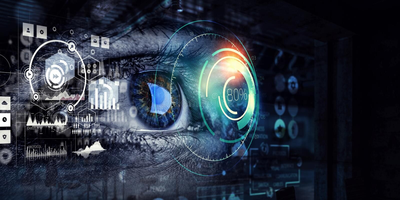 Person identification and scanning . Mixed media. Close up of woman eye and media interface. 3d rendering royalty free illustration