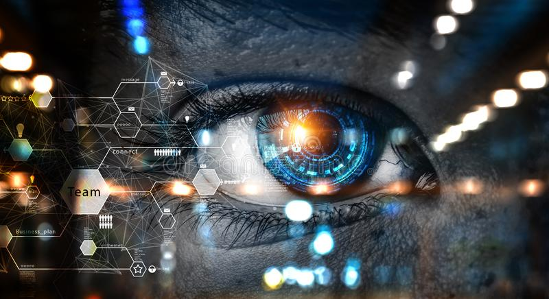 Person identification and scanning . Mixed media. Close up of woman eye and media interface. 3d rendering stock illustration