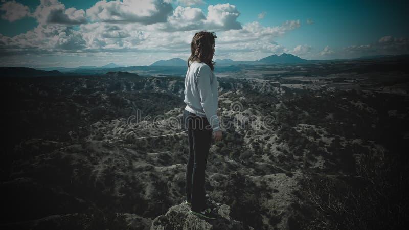 Person im grauen langärmligen Hemd, das auf Berg steht stockbilder