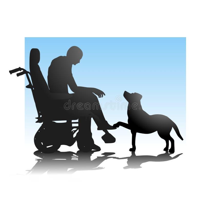 Person im Rollstuhl und im Hund lizenzfreie abbildung