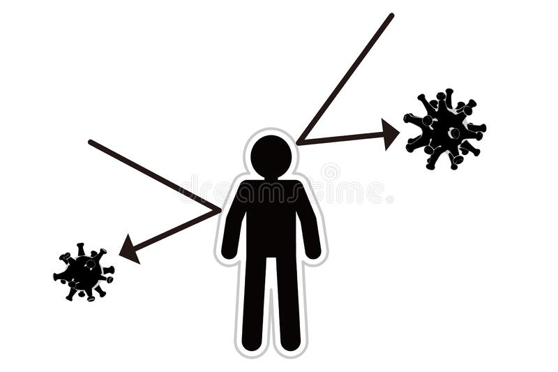 A person with immunity. Bounce the virus. Protected by antibodies. A person with an antibody. Cheerful person. A person with immunity. Bounce off pathogenic vector illustration