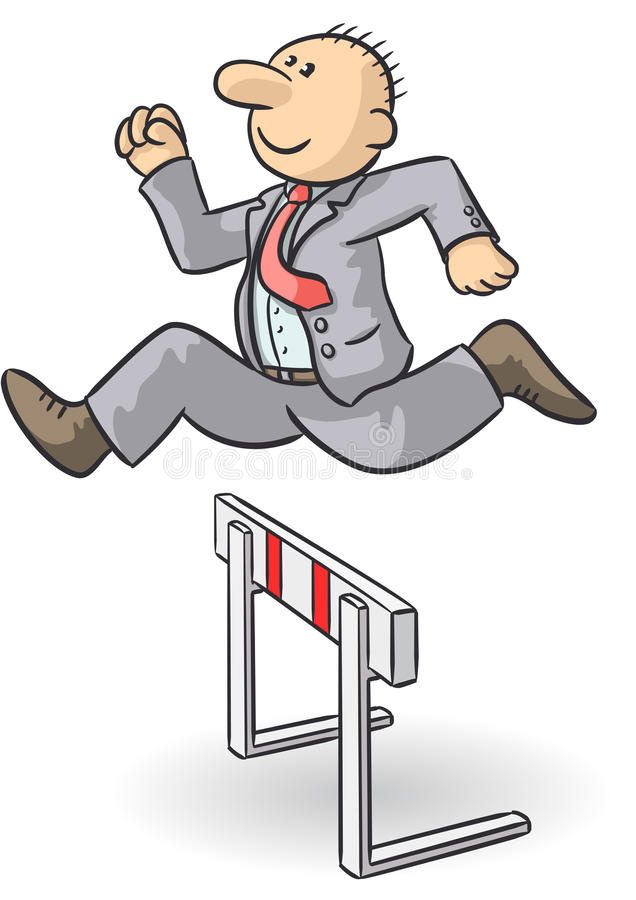 Person jumps an obstacle royalty free illustration