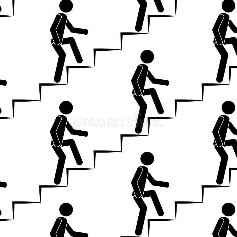 Person klettert oben das nahtlose Muster der Treppe stockbilder