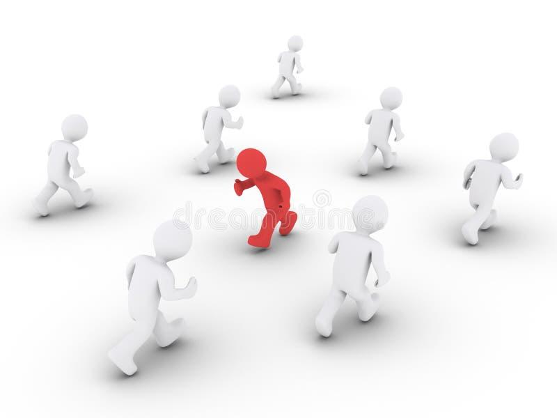 Person läuft an der entgegengesetzten Richtung von anderen lizenzfreie abbildung