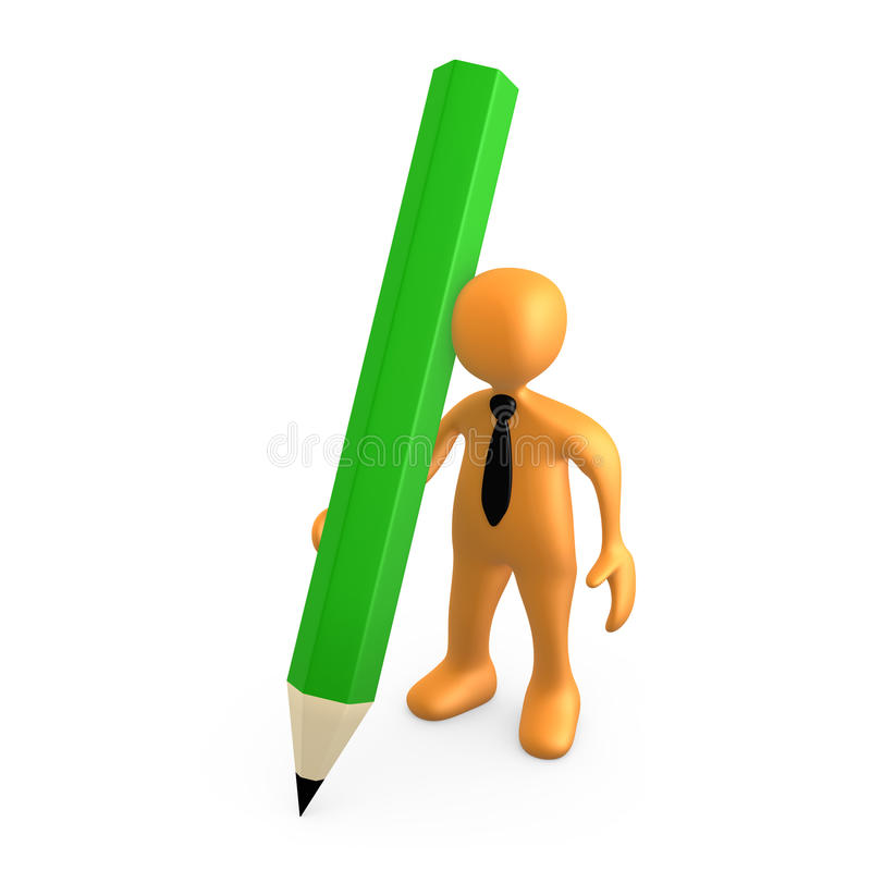 Download Person With Large Pencil stock illustration. Image of write - 19824562