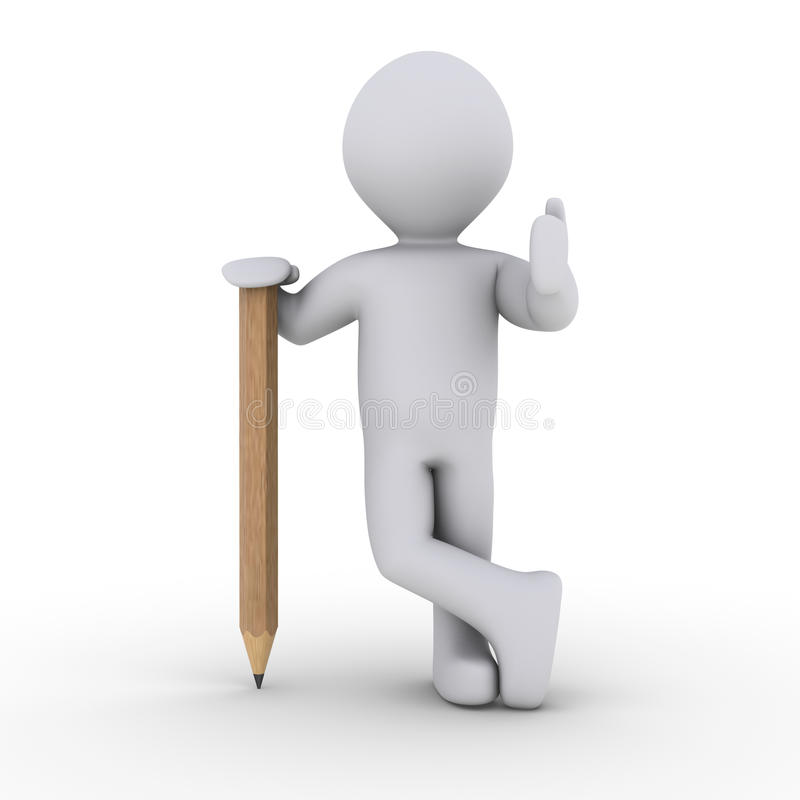 Download Person leaning on pencil stock illustration. Image of done - 23359157