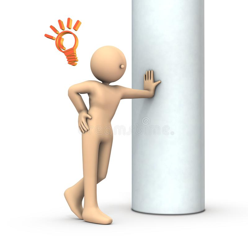 A person leaning on a pillar. He is happy to remember something. White background. 3D illustration stock illustration