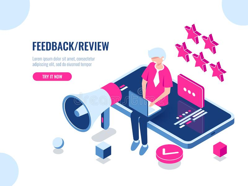 A person leaves a review of the company using a mobile application on a smartphone, concept feedback, five stars, good royalty free illustration