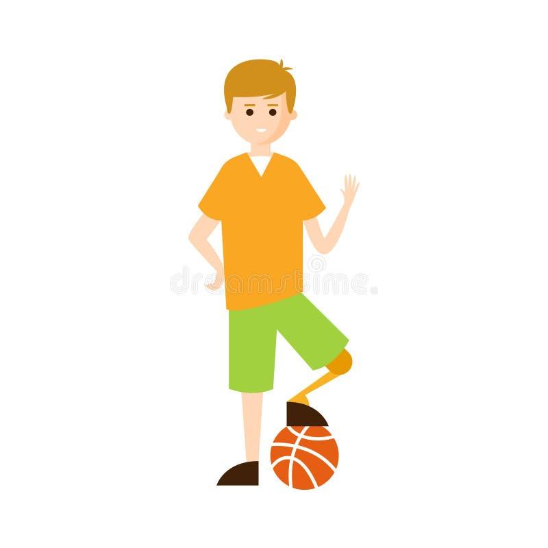 Person Living Full Happy Life fisicamente handicappato con l'illustrazione di inabilità con Guy With Artificial Leg sorridente illustrazione di stock