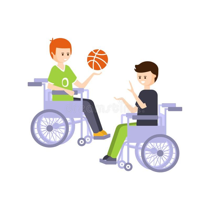 Person Living Full Happy Life fisicamente handicappato con l'illustrazione di inabilità con i tipi sorridenti in sedie a rotelle illustrazione di stock