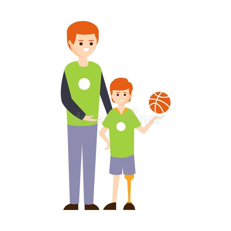 Person Living Full Happy Life fisicamente handicappato con l'illustrazione di inabilità con il ragazzo sorridente sulla gamba pro illustrazione vettoriale
