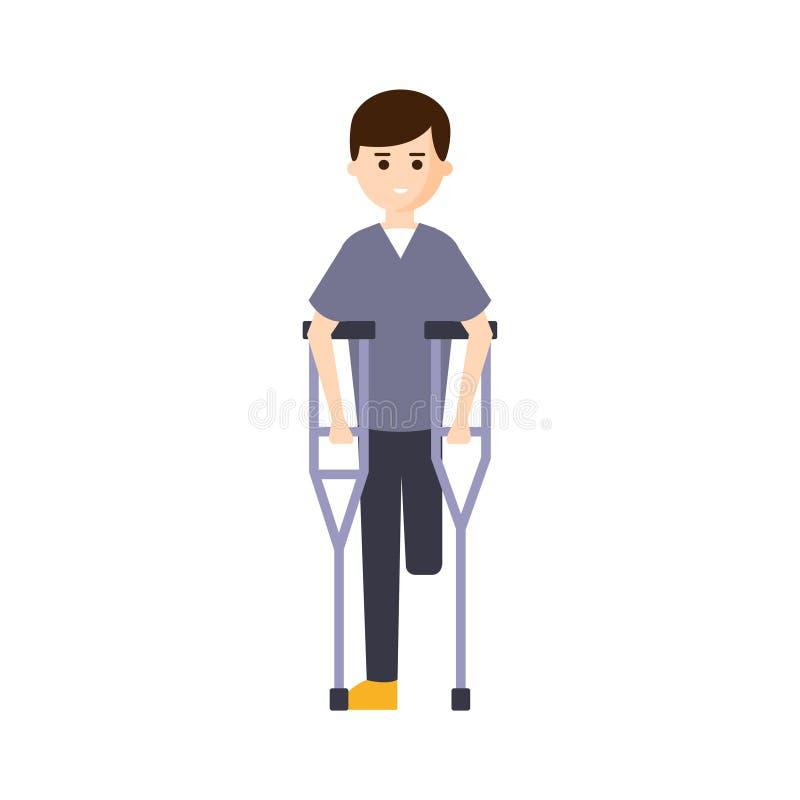 Person Living Full Happy Life fisicamente handicappato con l'illustrazione di inabilità con l'uomo sorridente con la gamba mancan illustrazione vettoriale