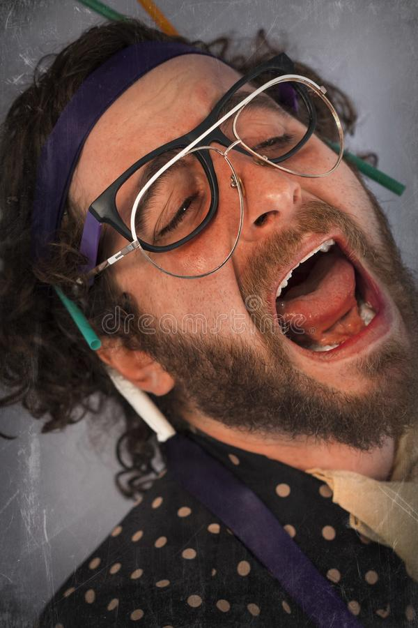 Person Lunatic pazzo barbuto immagine stock libera da diritti