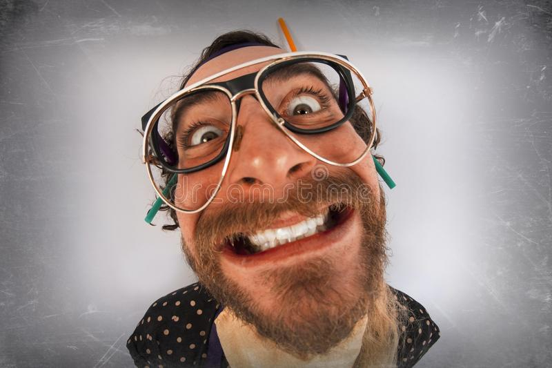 Person Lunatic pazzo barbuto fotografia stock libera da diritti