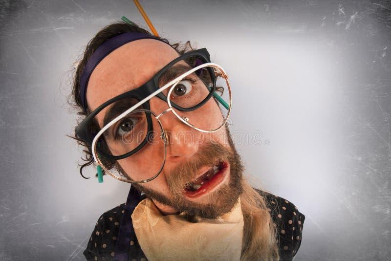 Person Lunatic pazzo barbuto fotografia stock
