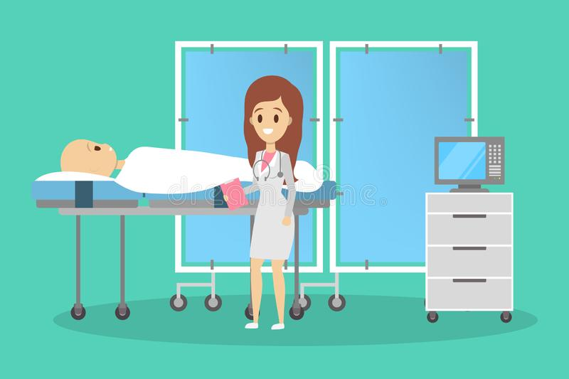 Person lying in a hospital bed. Patient after the surgery vector illustration