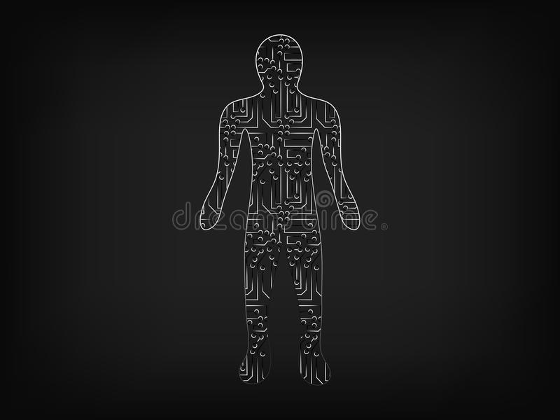 Person made of electronic microchip style circuits royalty free illustration
