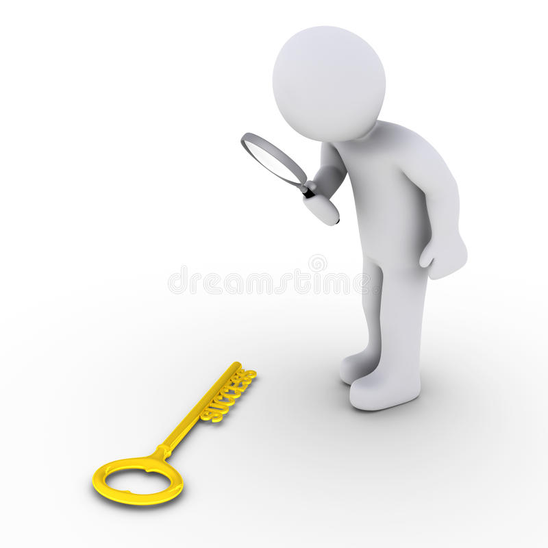 Download Person With Magnifier Finds Success-key Stock Illustration - Image: 26899817