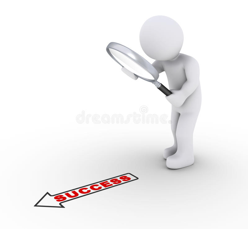 Person With Magnifier Looking For Success Royalty Free Stock Photos