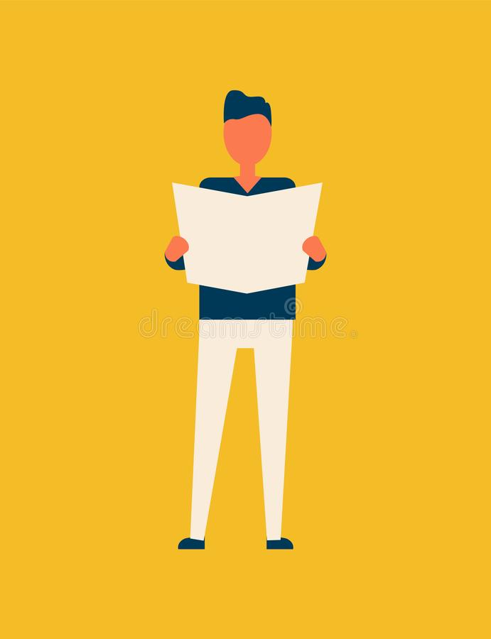 Person Male Reading Newspaper Vector-Illustratie stock illustratie