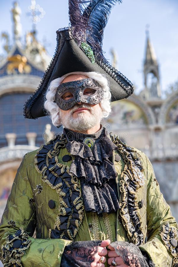 Person in mask at The Carnival of Venice 2018 stock photos