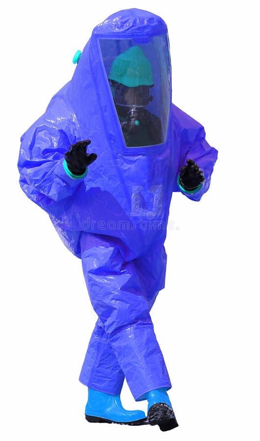 Person med den blåa skyddande dräkten med andningapparaturen på whi royaltyfri fotografi
