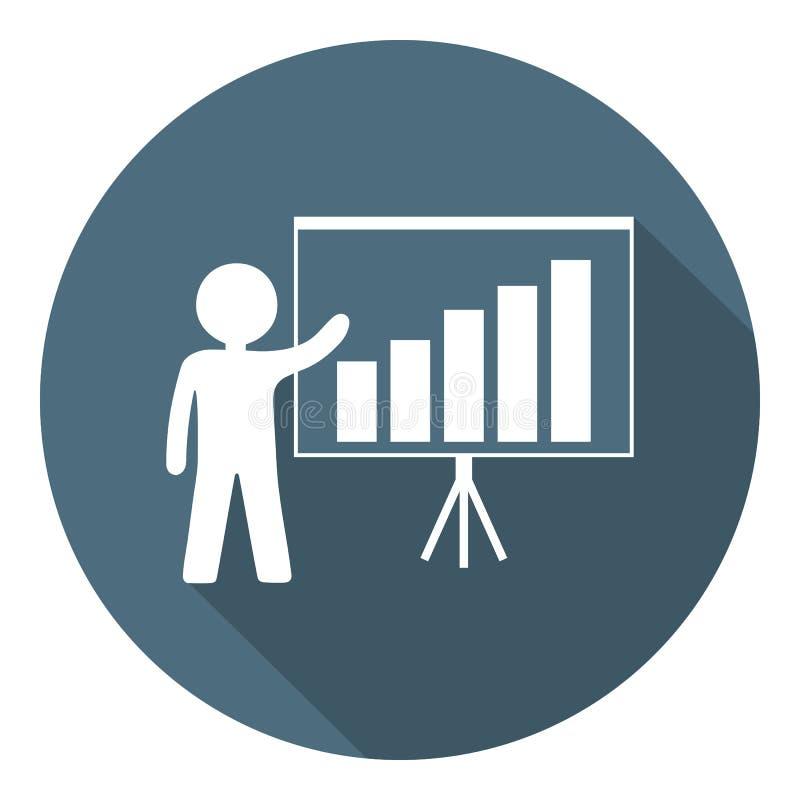 Person med den växande diagramsymbolen Affärspresentation, analysering som är statistisk, rapport äganderätt för home tangent för vektor illustrationer