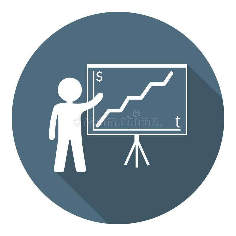 Person med den växande diagramsymbolen Affärspresentation, analysering som är statistisk, rapport äganderätt för home tangent för royaltyfri illustrationer