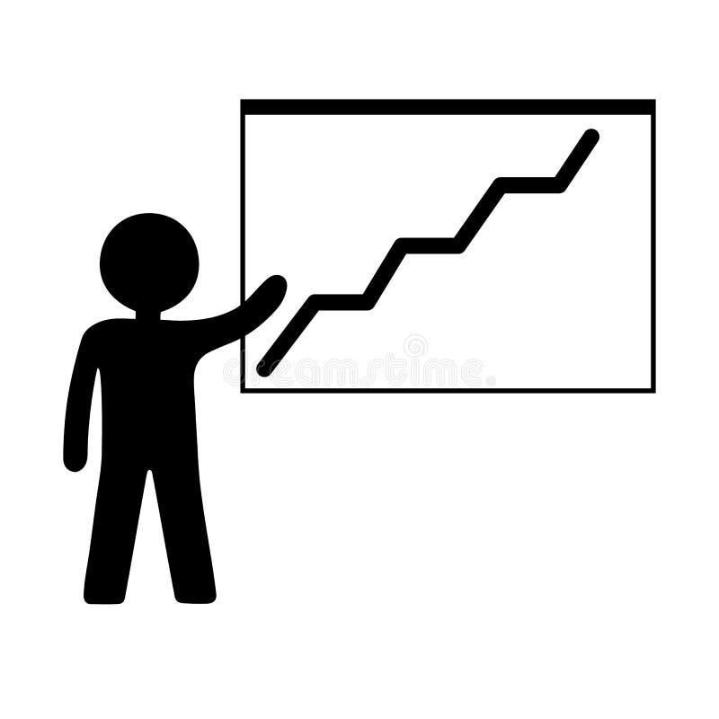 Person med den v?xande diagramsymbolen Aff?rspresentation, analysering som ?r statistisk, rapport vektor f?r designillustrationst stock illustrationer