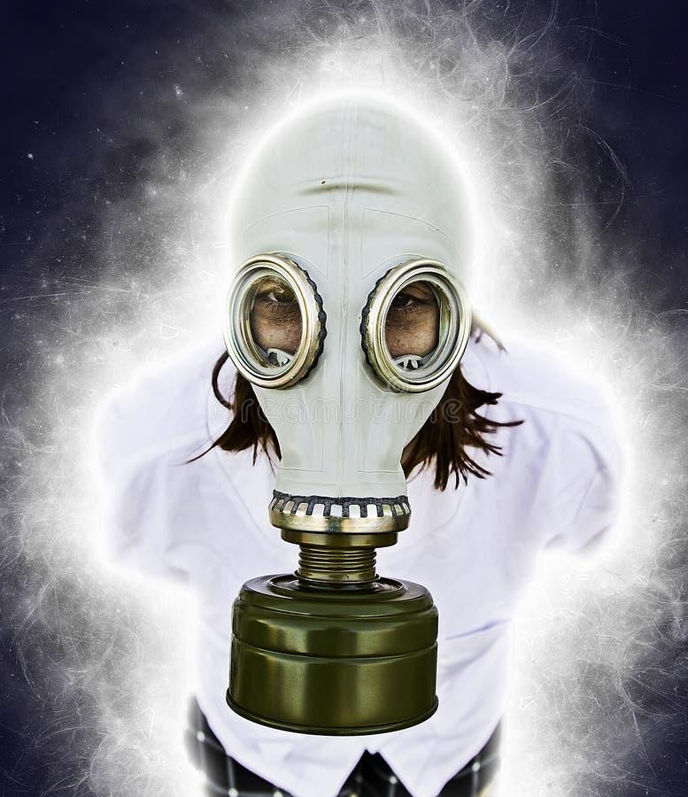 Person med gasmasken royaltyfria foton