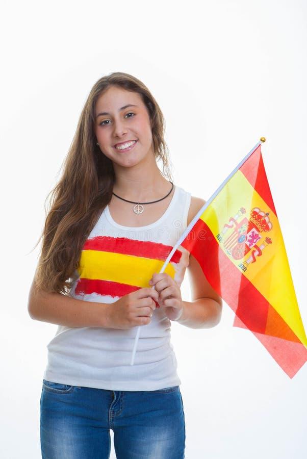 Person med spanjorflaggan royaltyfri bild