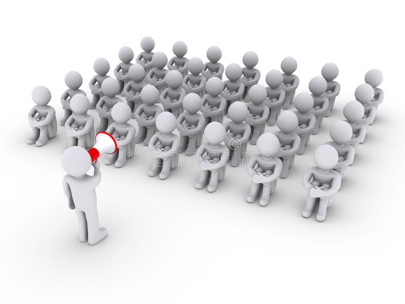 Download Person With Megaphone And Others Sitting Down Stock Illustration - Image: 24792529