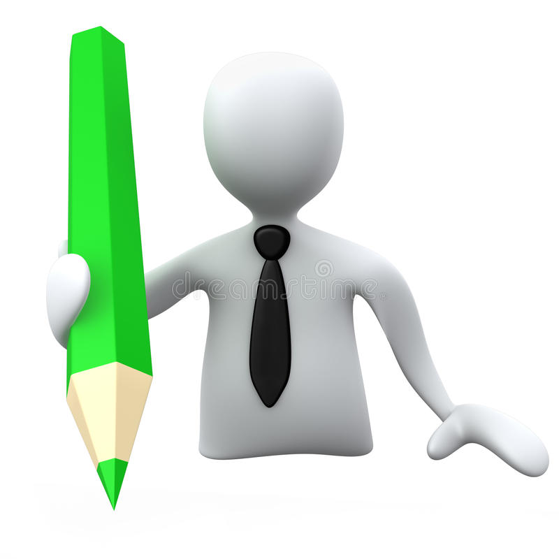 Person mit Bleistift lizenzfreie abbildung
