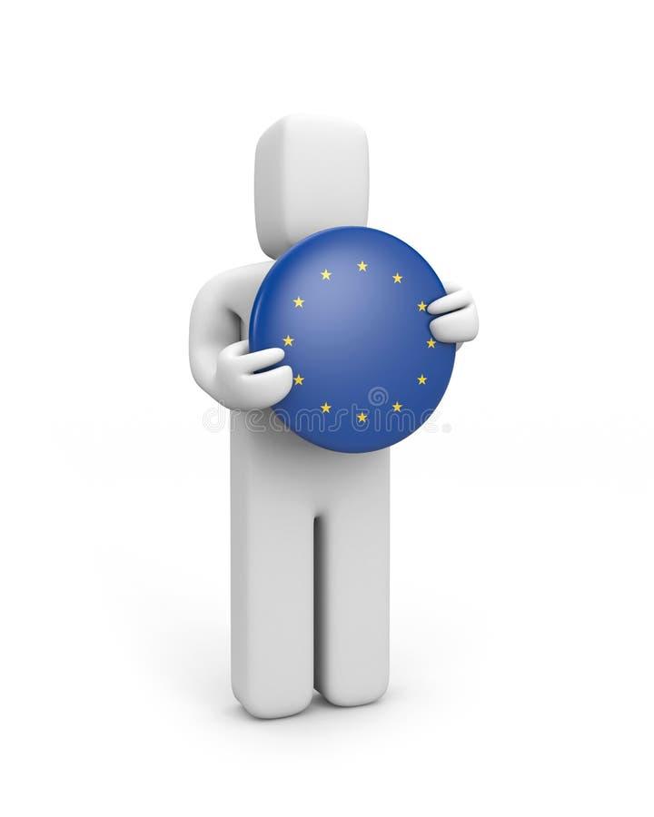 Person mit Euroabzeichen (Abzeichen) stock abbildung