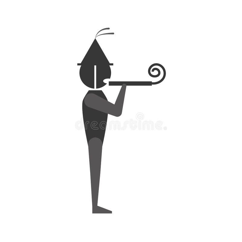 Person mit Hut, Hornistpartei lizenzfreie abbildung
