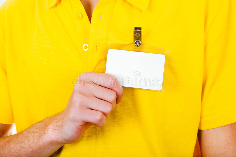 Person mit leerem Ausweis stockfoto