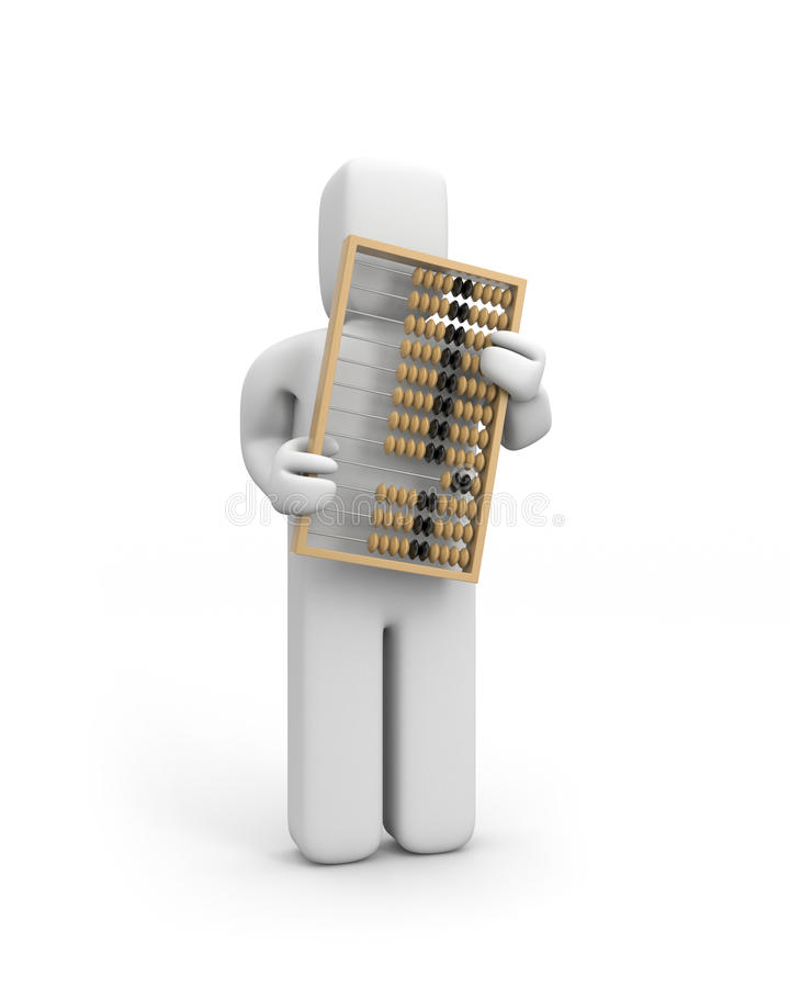 Person mit Rechenmaschine lizenzfreie abbildung
