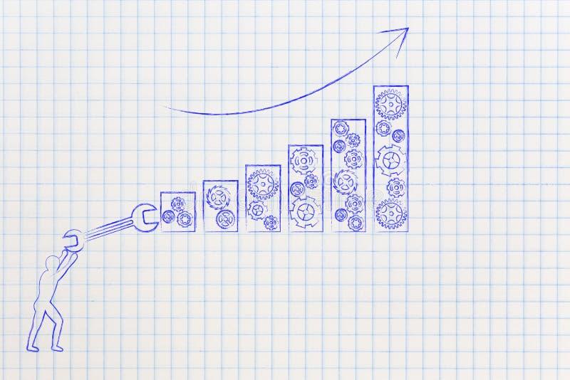 Person mit Schlüsselbefestigungsstangen von einem Geschäftswachstumsdiagramm vektor abbildung