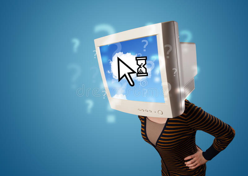 Download Person With A Monitor Head And Cloud Based Technology On The Scr Stock Image - Image of question, information: 33469633
