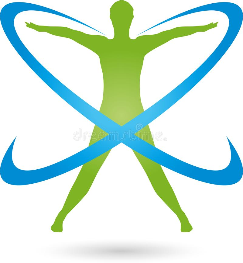 Person On The Move And Circles Colored Fitness And Health Logo