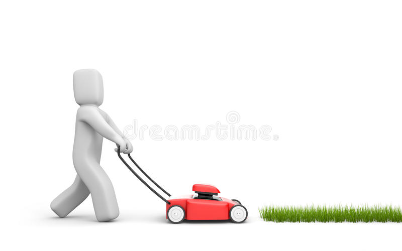 Download Person mow a grass stock illustration. Image of mower - 14862522