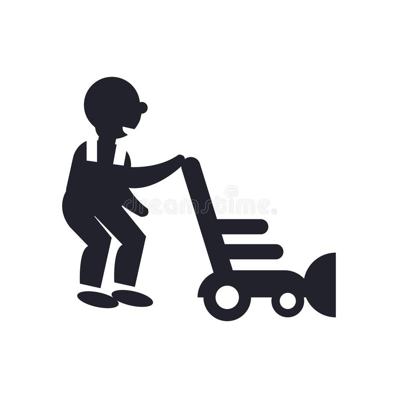 Person mowing the grass icon vector sign and symbol isolated on royalty free illustration