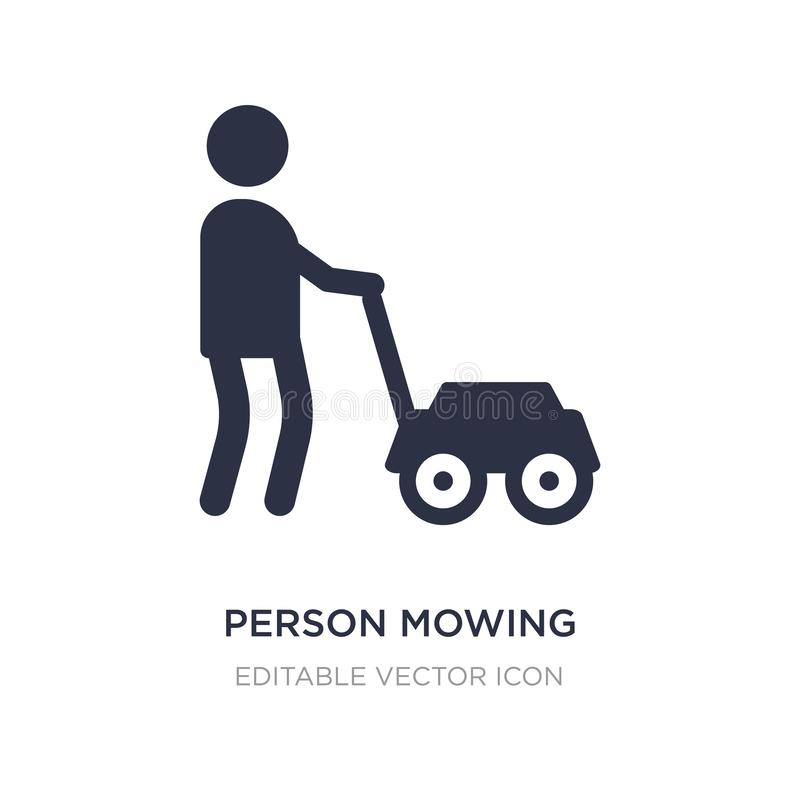 person mowing the grass icon on white background. Simple element illustration from People concept stock illustration
