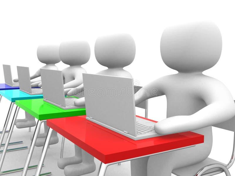 person och bärbar dator för folk 3d på kontoret. Affärspartners royaltyfri illustrationer
